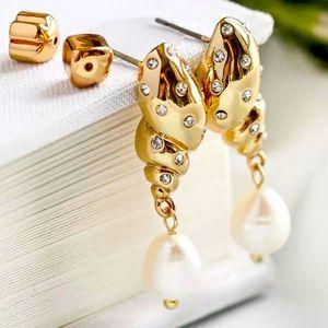 New Kate Spade  pavé tulip shell drop earrings